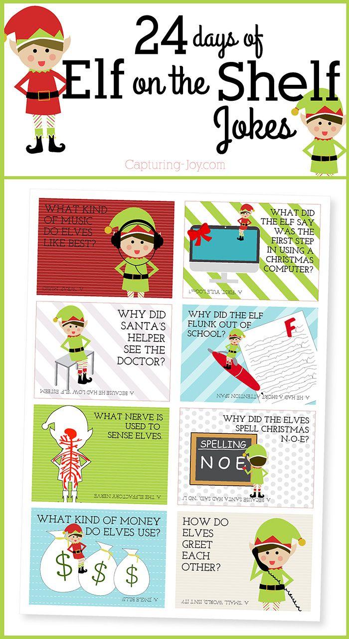 24 Days of Elf on the Shelf Jokes | Shelf ideas, Jokes and Gift tags