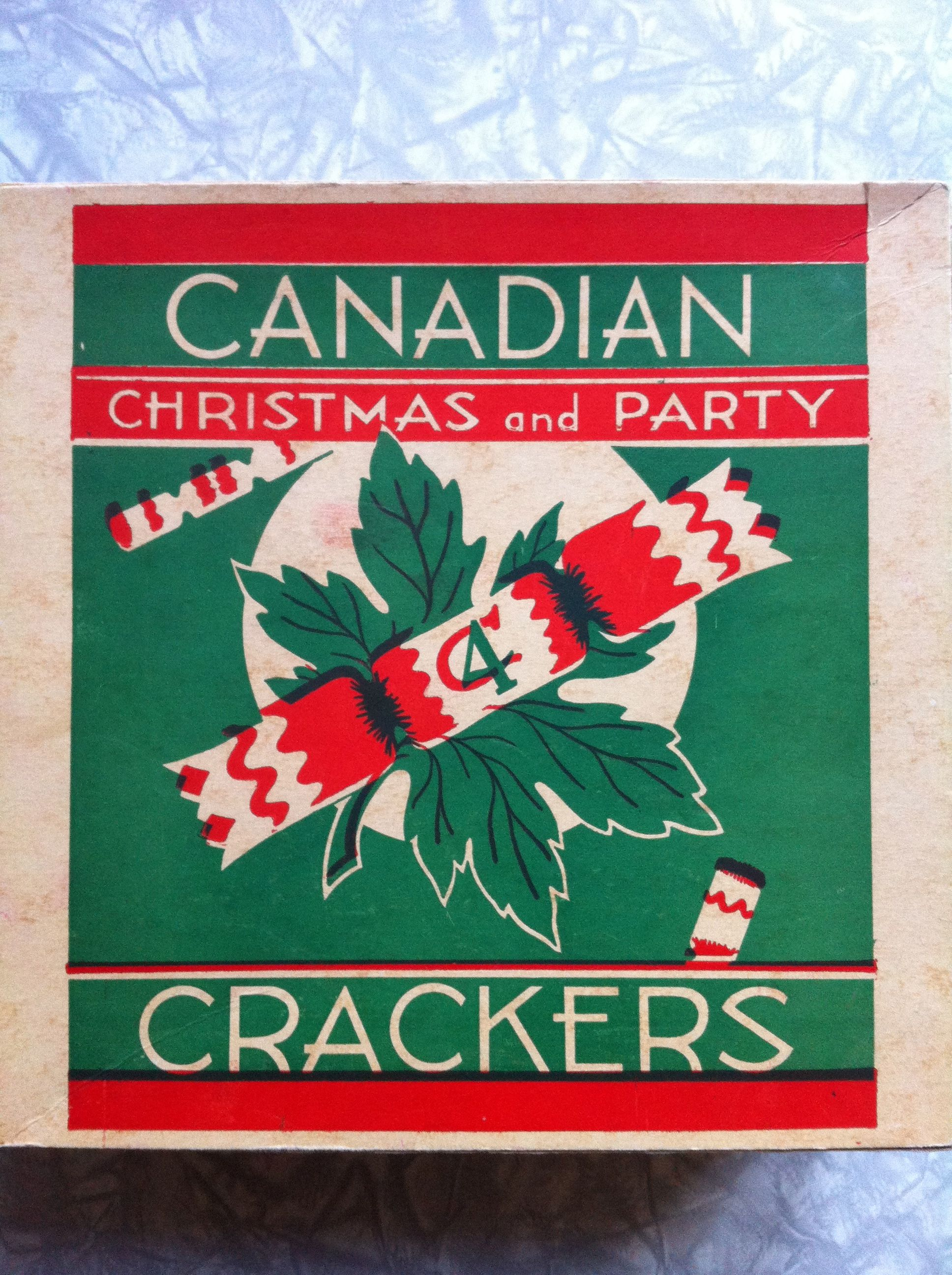 Vintage Canadian Christmas cracker box. Canadian