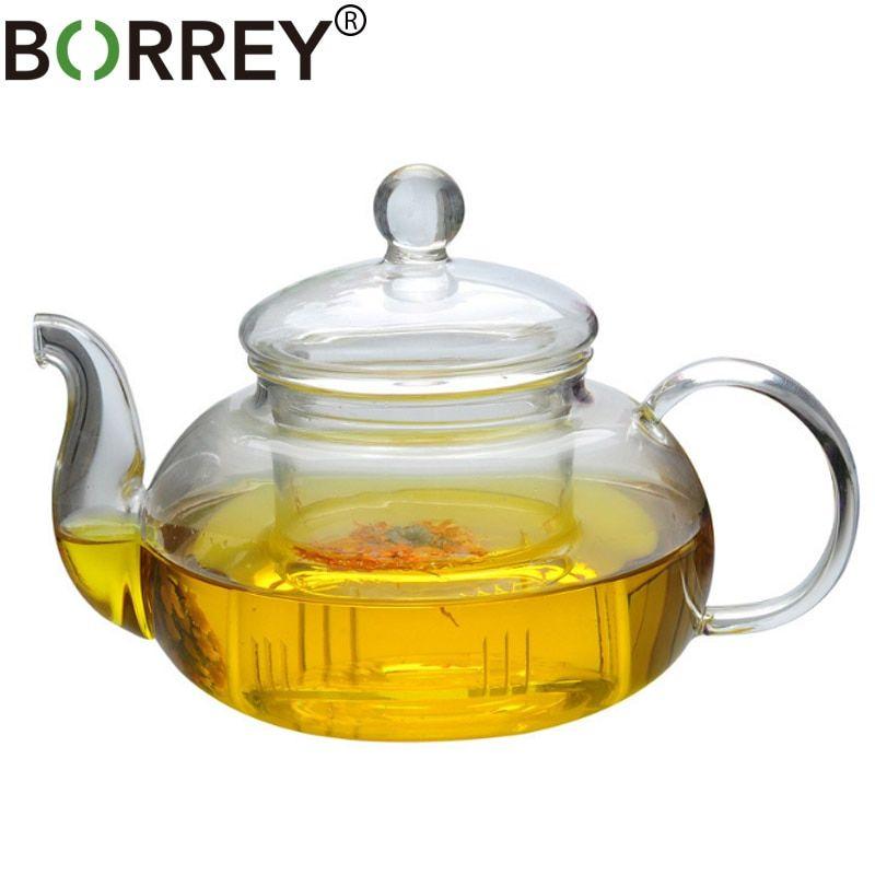 Borrey Heat Resistant Glass Teapot Double Wall Glass Teacup Clear Tea Pot Infuser Qolong Tea Kettle Tea Different Fl In 2020 Tea Pots Glass Teapot Heat Resistant Glass