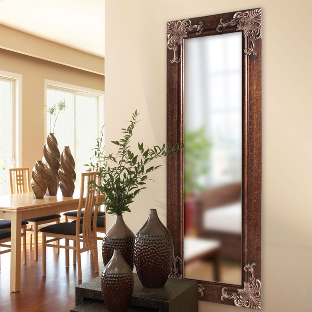 Full Length 63 Wall Mirror Wood Frame Antique Silver Gold Accents Mirror Wall Vintage Mirror Wall Wall Mirrors With Wood Frames