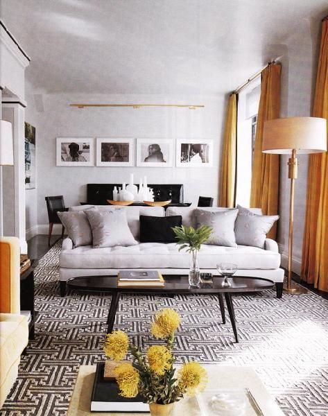 Suzie Elle Decor Orange Gray Modern Living Room Love The Graphic Rug In This Space With With Images Elle Decor Living Room Modern Grey Living Room Living Room Grey