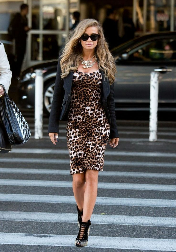 Ways to Wear Leopard Print. I like this look, although the shoes may be too  much with a dress pattern this bold. Definitely ditch that necklace.