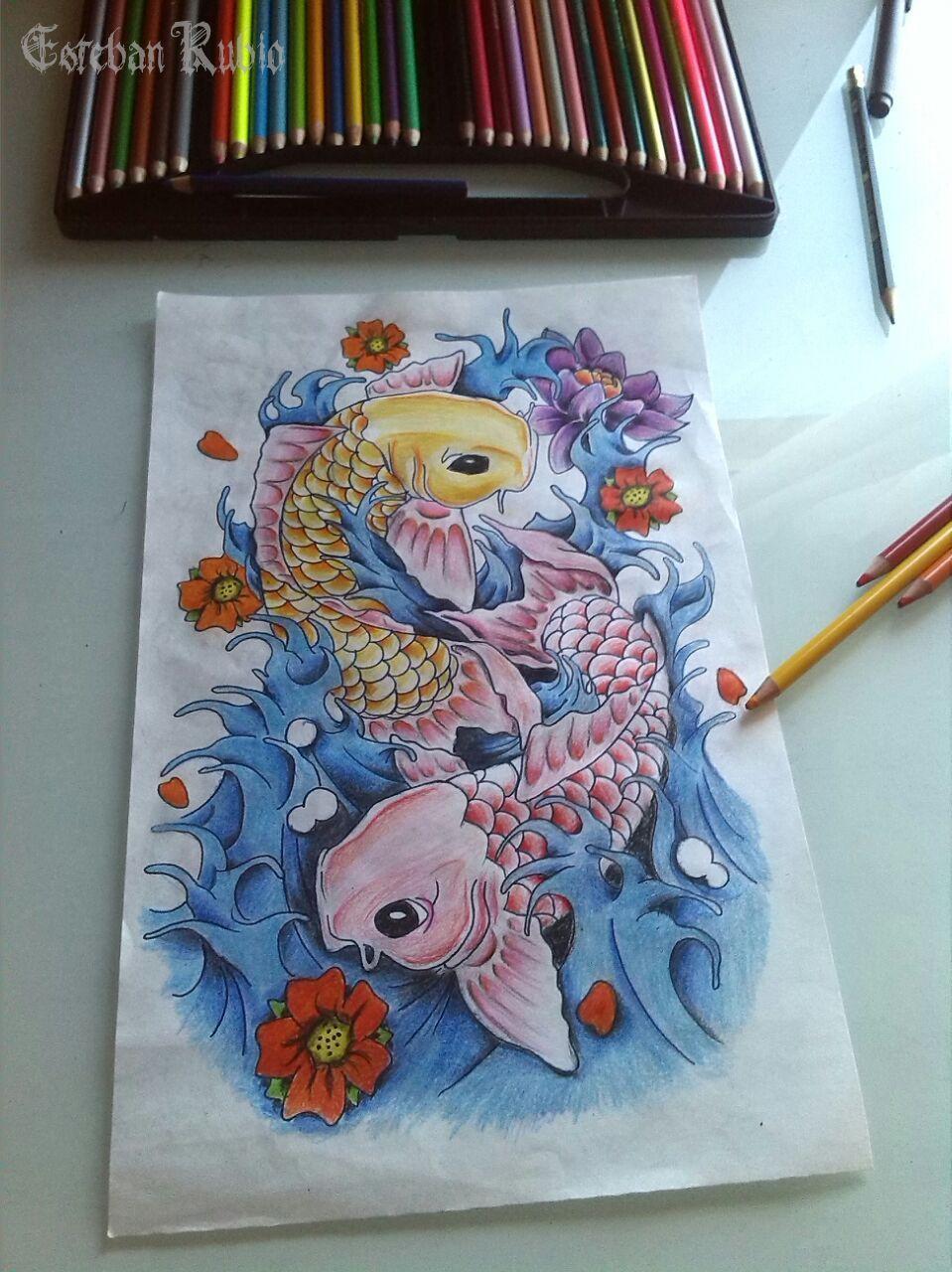 Peces Koi Lapices De Colores Peces Pinterest