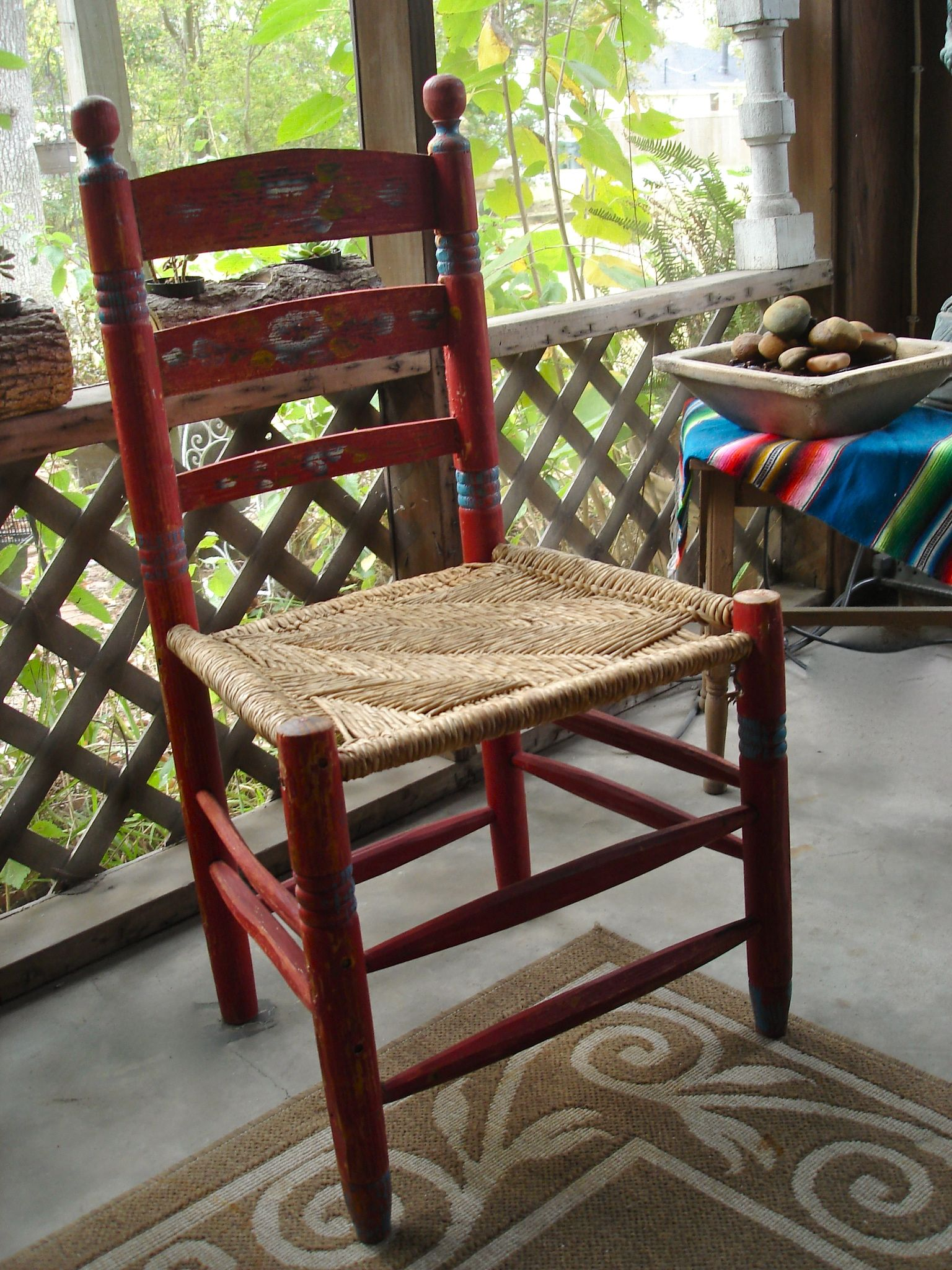Antique Folk Art Hand Carved Red Mexican Chair Come