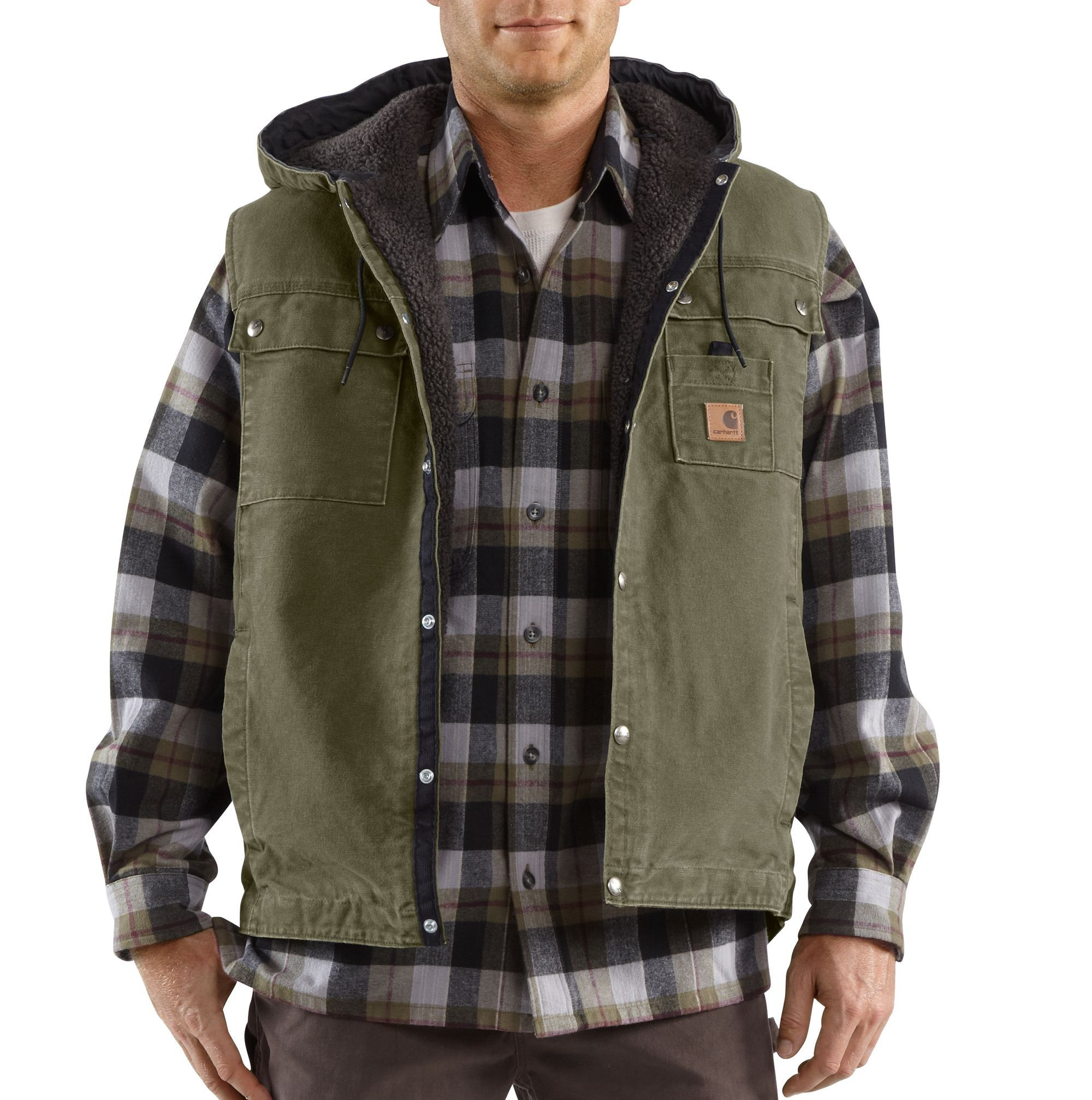 Carhartt Mens Sandstone Hooded Mult Pocket Vest 100114 Army Green