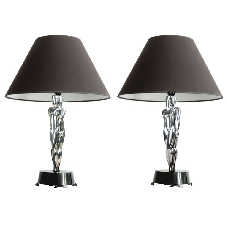 Pair Large Art Deco Machine Age Sculpture Table Lamps 1930s Modernist Lights Dizajn
