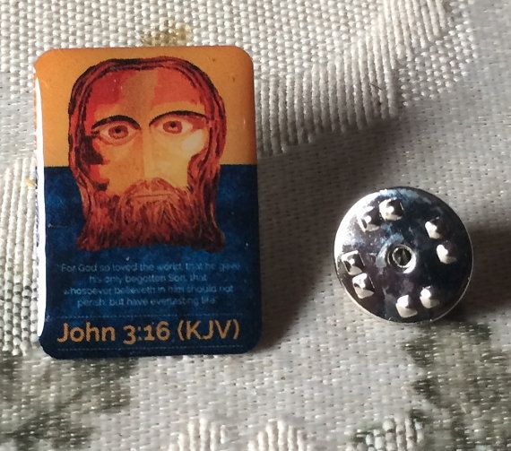Wonderful The Face Of Jesus Lapel Pin With John 3:16 By 3rdCrossministry