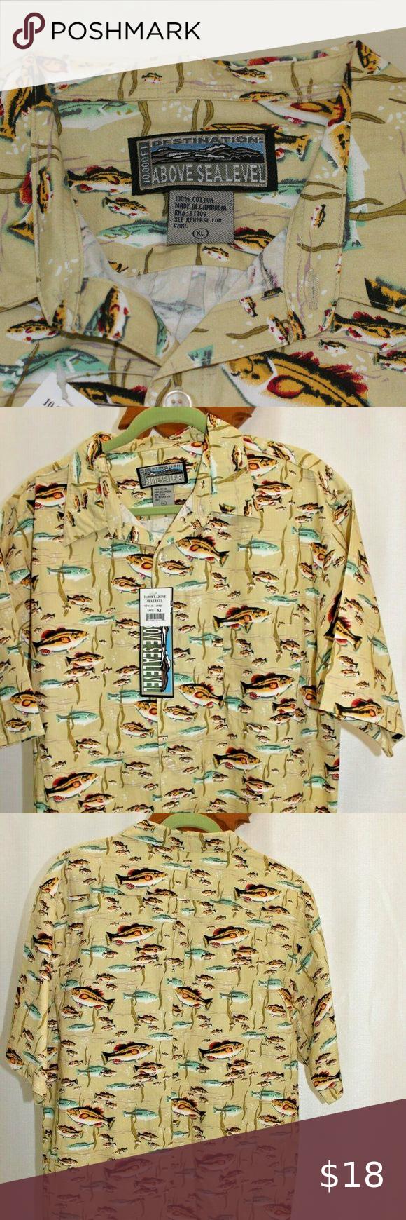 10,000 ft Above Sea Level Mens Fishing Print Shirt Vintage with fish print, NWT, mens XL  Chest 25 10000 feet Shirts