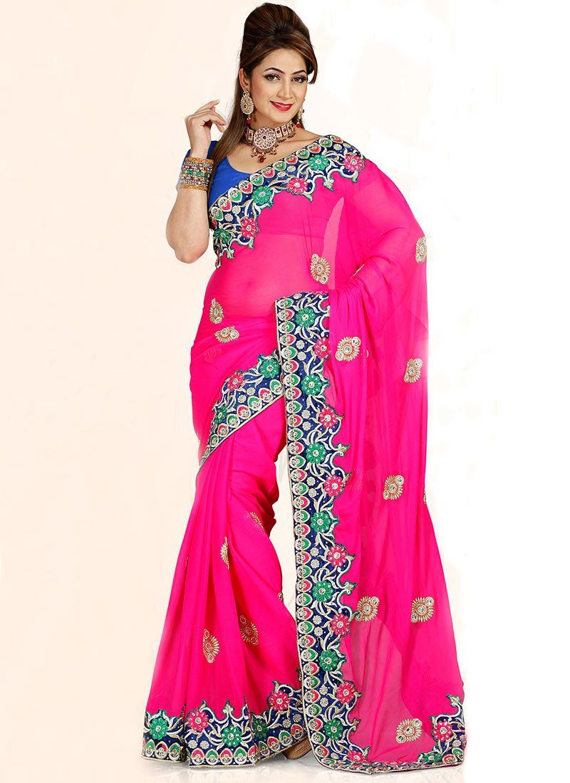 Pretty Pink Chiffon #Saree #festive