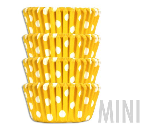 Mini Yellow Polka Dot Baking Cups 50 Mini Paper Cupcake Liners