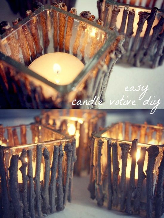 Diy candle holder hot glue twigs to a dollar tree glass for Homemade votive candles