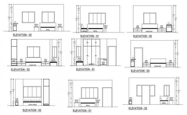 Sectional Elevation Of Bedroom In Autocad Bedroom Sectional Master Bedroom Interior Room Design Bedroom
