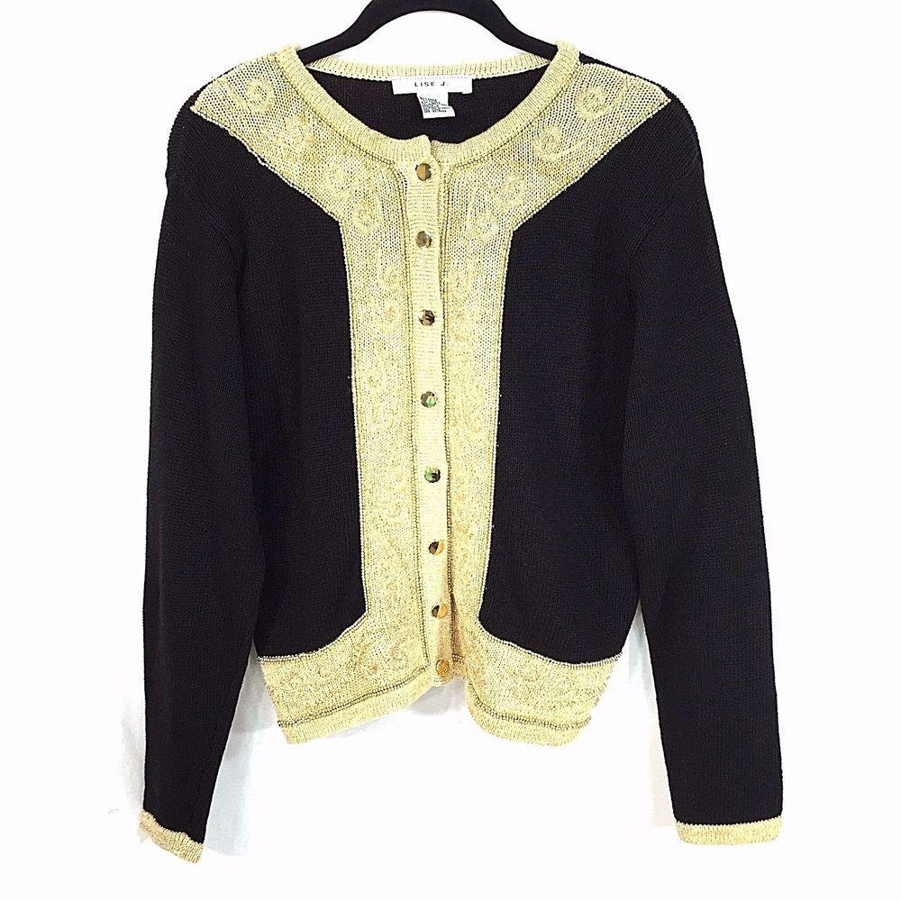 Lise J Cardigan Sweater Small Black Gold Metallic Threading and ...