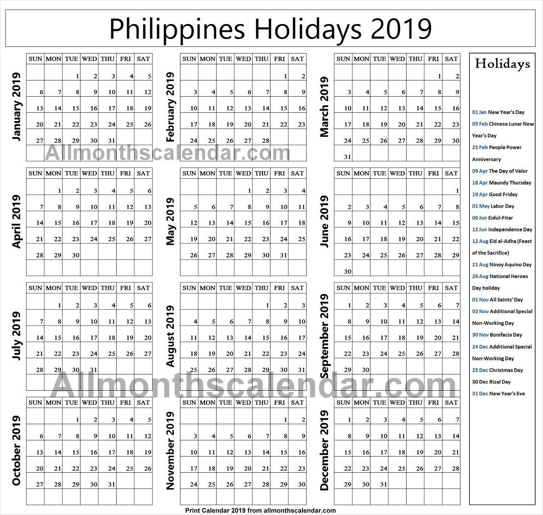 Philippines Holiday List 2019 Philippine Holidays Holiday List Holiday Calendar