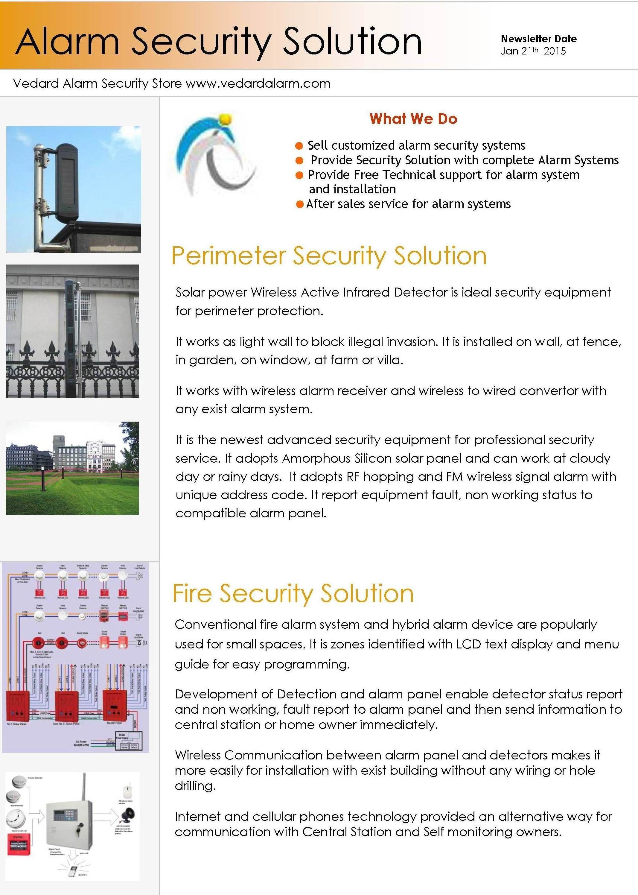 Security service alarm solution for perimeter protection and