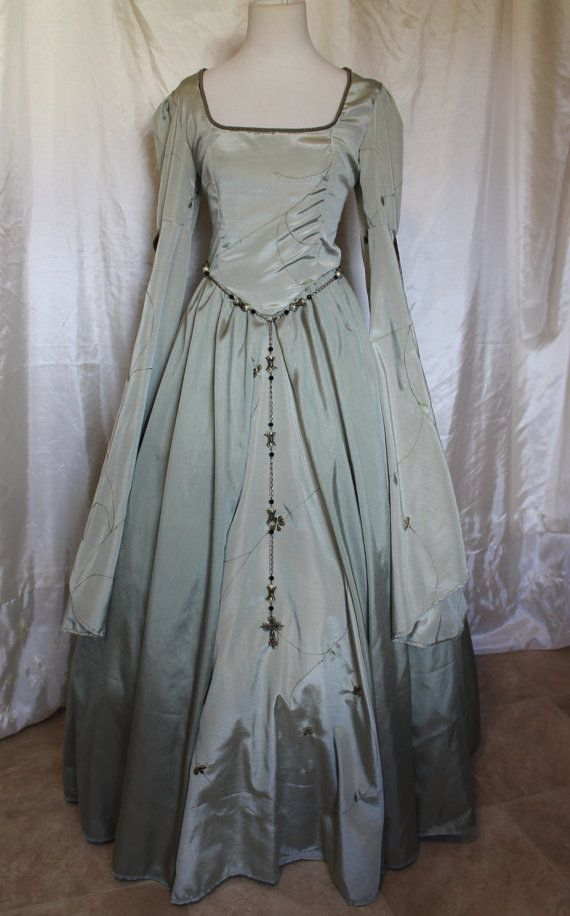 Pale Sage Green Tudor Gown by RecycledRockstah