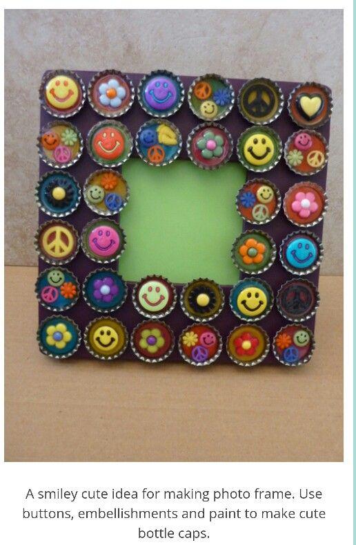 Bottle cap pic frame | Crafts | Pinterest | Bottle and Crafts