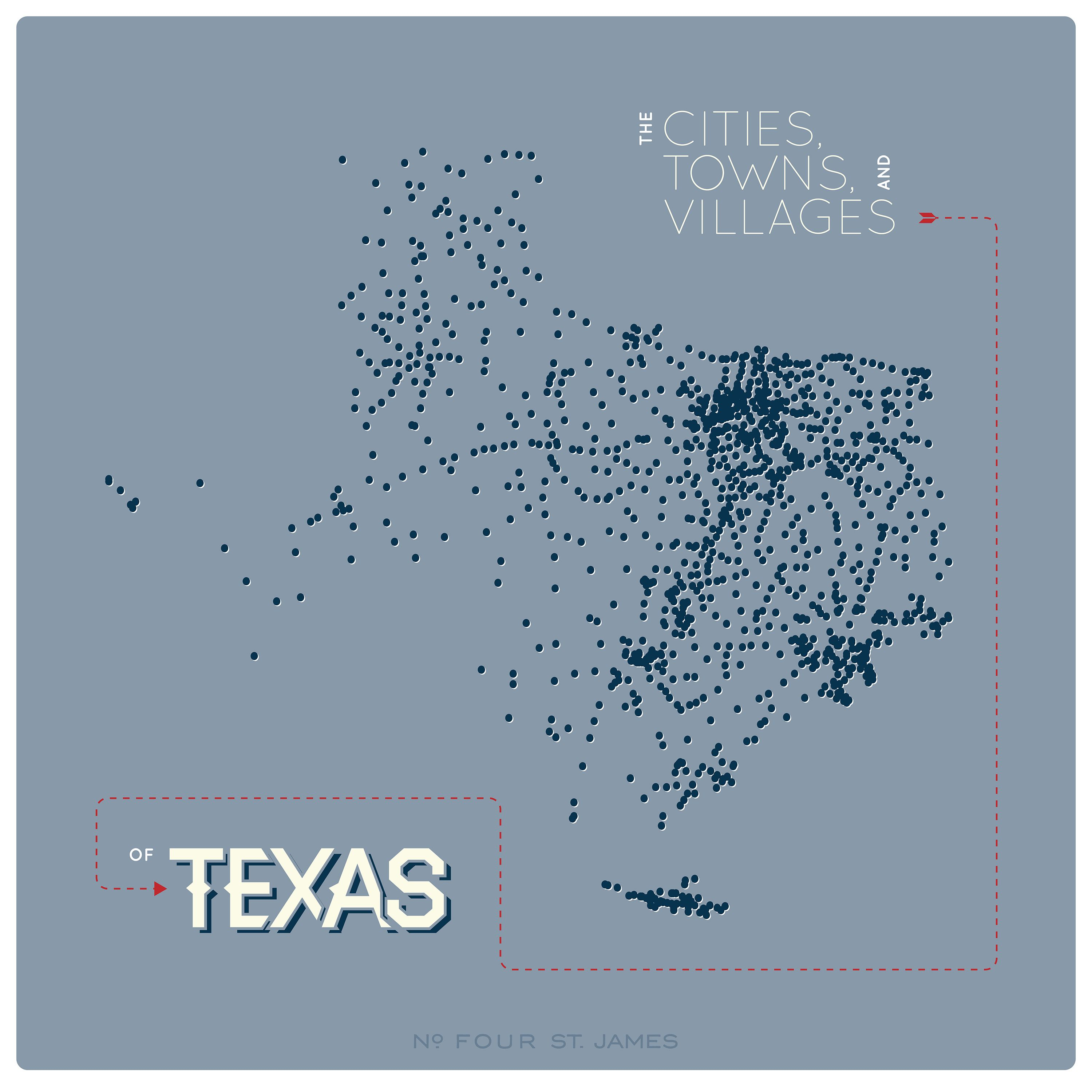We plotted every #Texas city, town, and village on a map, aka 1209 ...