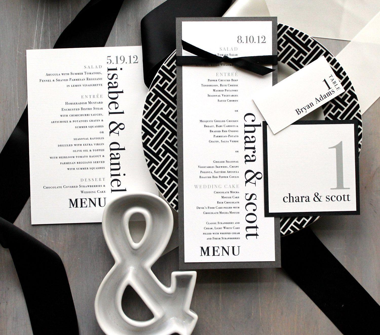 Modern Wedding Menu, Modern Table Numbers, Custom Place Cards, Black ...