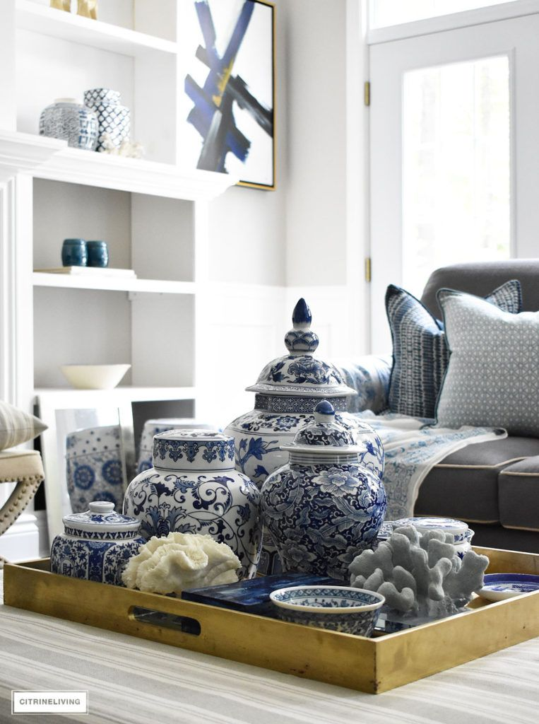 3 Ways To Style Your Coffee Table Or Ottoman Blue White Decor Home Decor Blue Decor