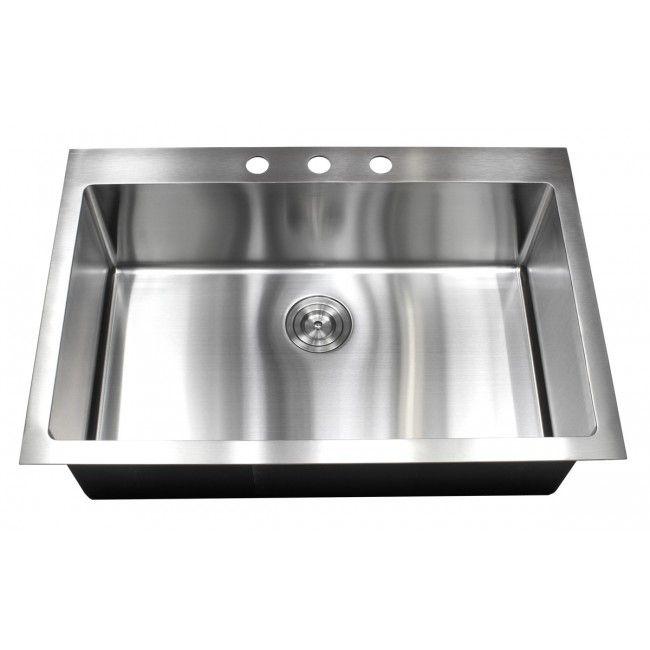 33 Inch Top-Mount / Drop-In Stainless Steel Single Bowl Kitchen Sink 15mm Radius Design