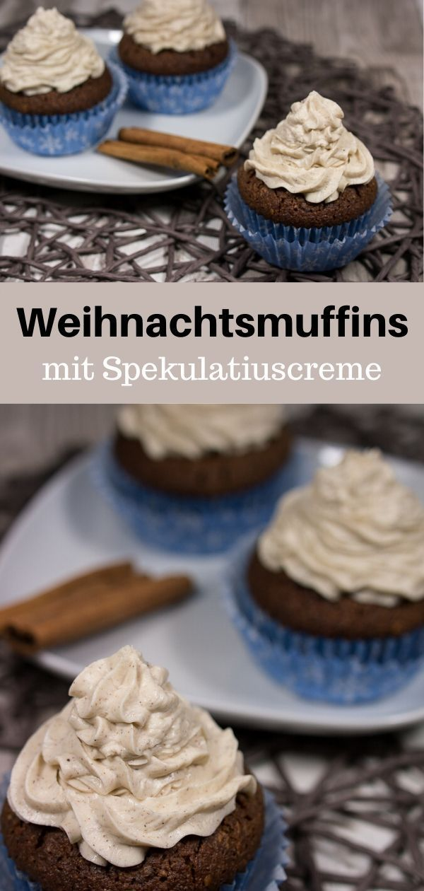 Schoko-Nuss-Weihnachtsmuffins mit Spekulatius Creme und Zimt-Topping Rezept - MakeItSweet.de