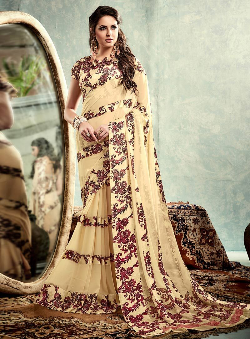 Modern half saree blouse designs cream satin printed saree with blouse   bollywood dresses
