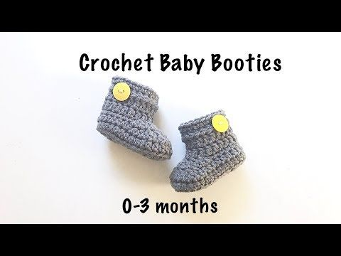 7db00f5eb2e2 Crochet baby booties or baby shoes for 0-3 months baby fast and easy to do   104 - YouTube