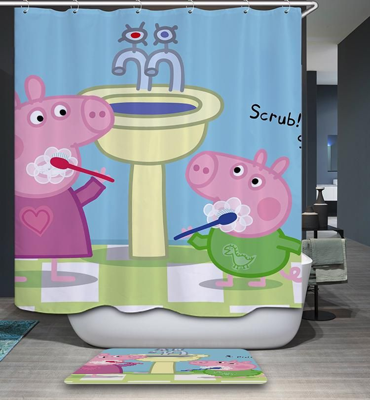 Morning Teeth Brushing Pig Shower Curtain Curtains Bathroom