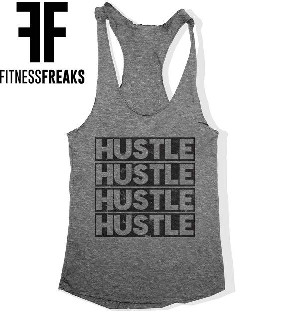Hustle Women's Fitness Soft Tri Blend Racer Back Work Out Tank Top Gym Tank Top Heather Grey