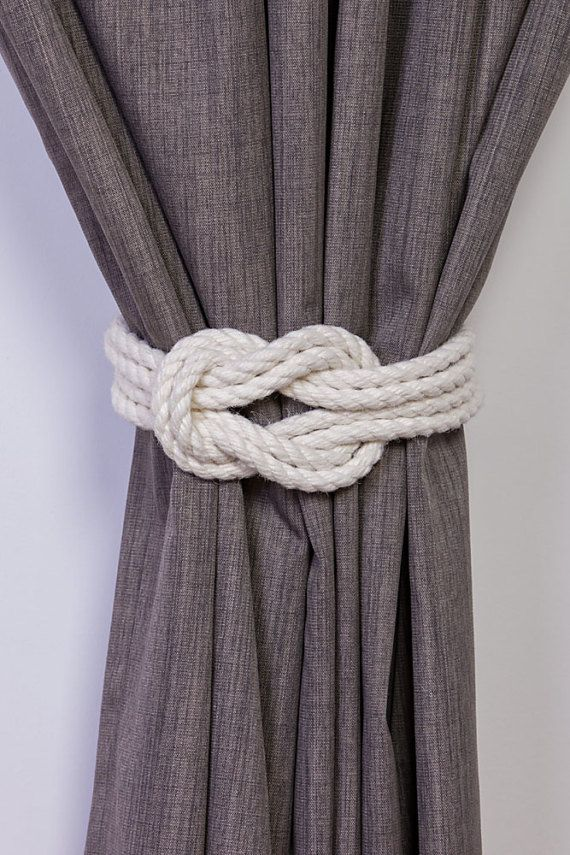 Cotton Rope Double Square Knot Nautical Curtain Tie-Backs/ Shabby Chic Ivory White Curtain hold-Backs / Nursery Window Treatment / Rope Ties #ropeknots