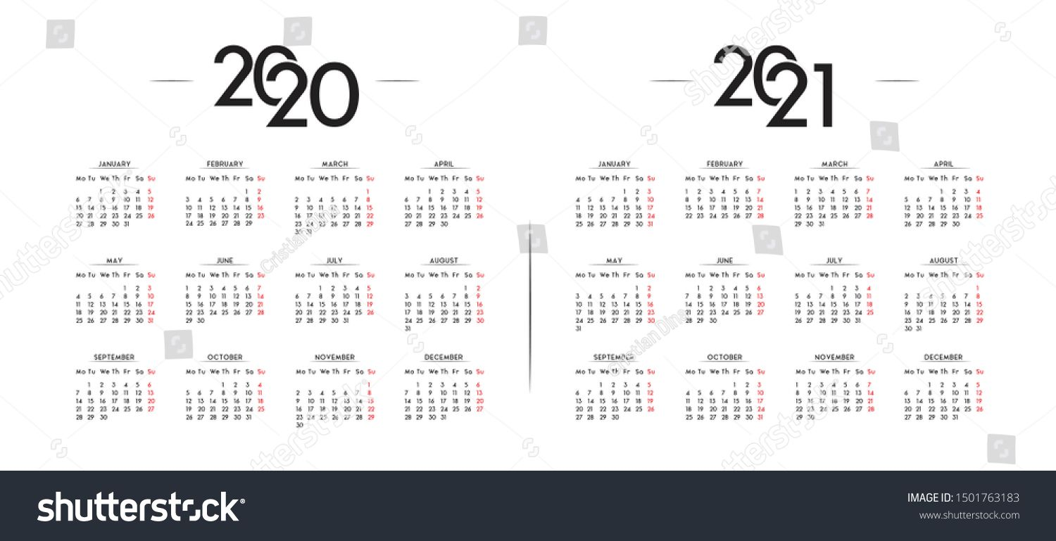 English Minimalist Calendar Year 2020 And 2021 Vector Template Ad Aff Calendar Year En Calendar Template Minimalist Calendar Social Media Design Graphics