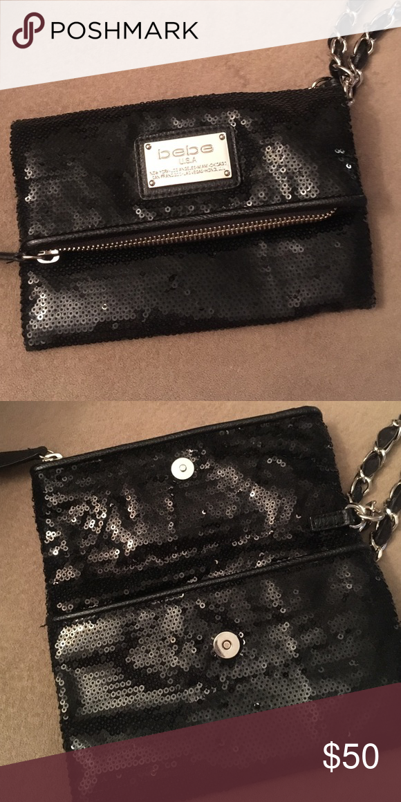 Bebe sequence clutch/ purse Bebe black sequence clutch/ purse. Like new bebe Bags Clutches & Wristlets