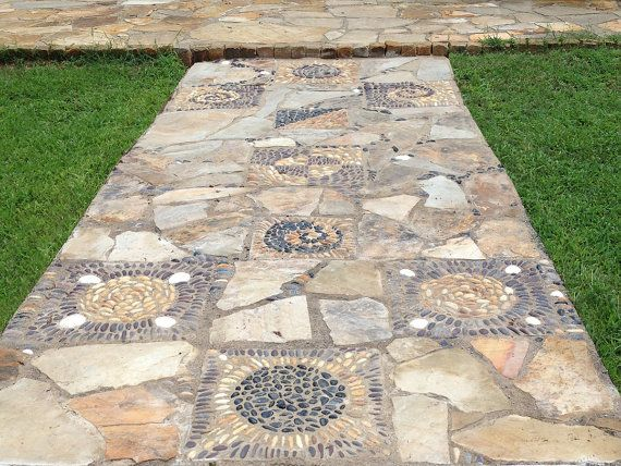 Pebble and stone Mosaics, Garden Decor, Patio Pavers, pebble paver, pathway, walkway, stepping stone
