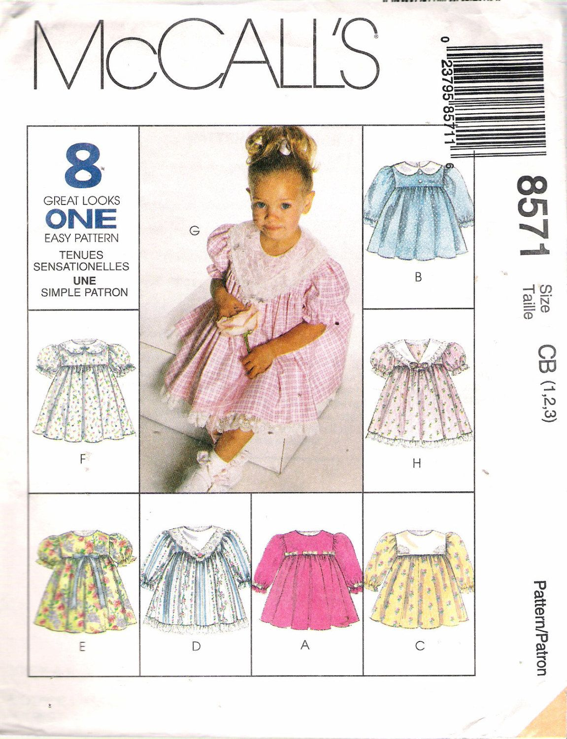8571 McCalls Sewing Pattern Toddler Girls Dress 8 Great Looks Uncut Size 1 2 3