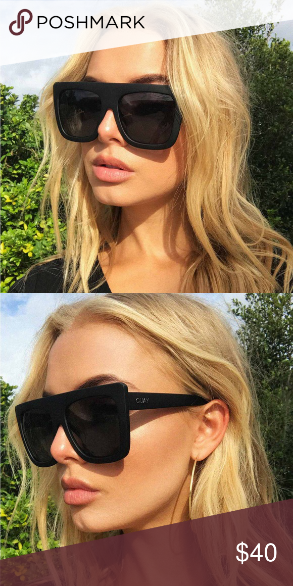 9023d7b125 Quay Cafe Racer Sunglasses Kylie Jenner Black Dramatically oversized  featuring a straight brow, heavy frame and boxy bold design. Matte black.