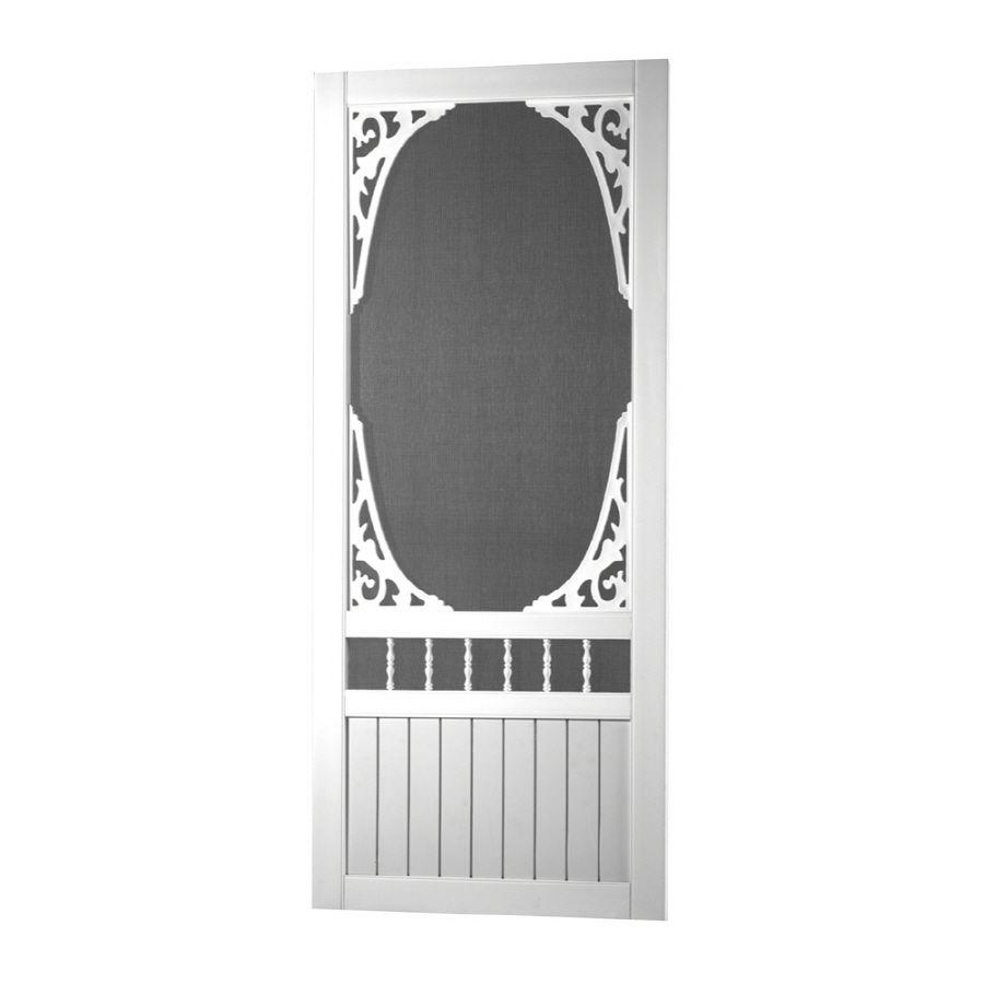 White Decorative Screen Door Common 36 In X 80 In Actual 36 In X 80 In Decorative Screen Doors Vinyl Screen Doors Screen Tight