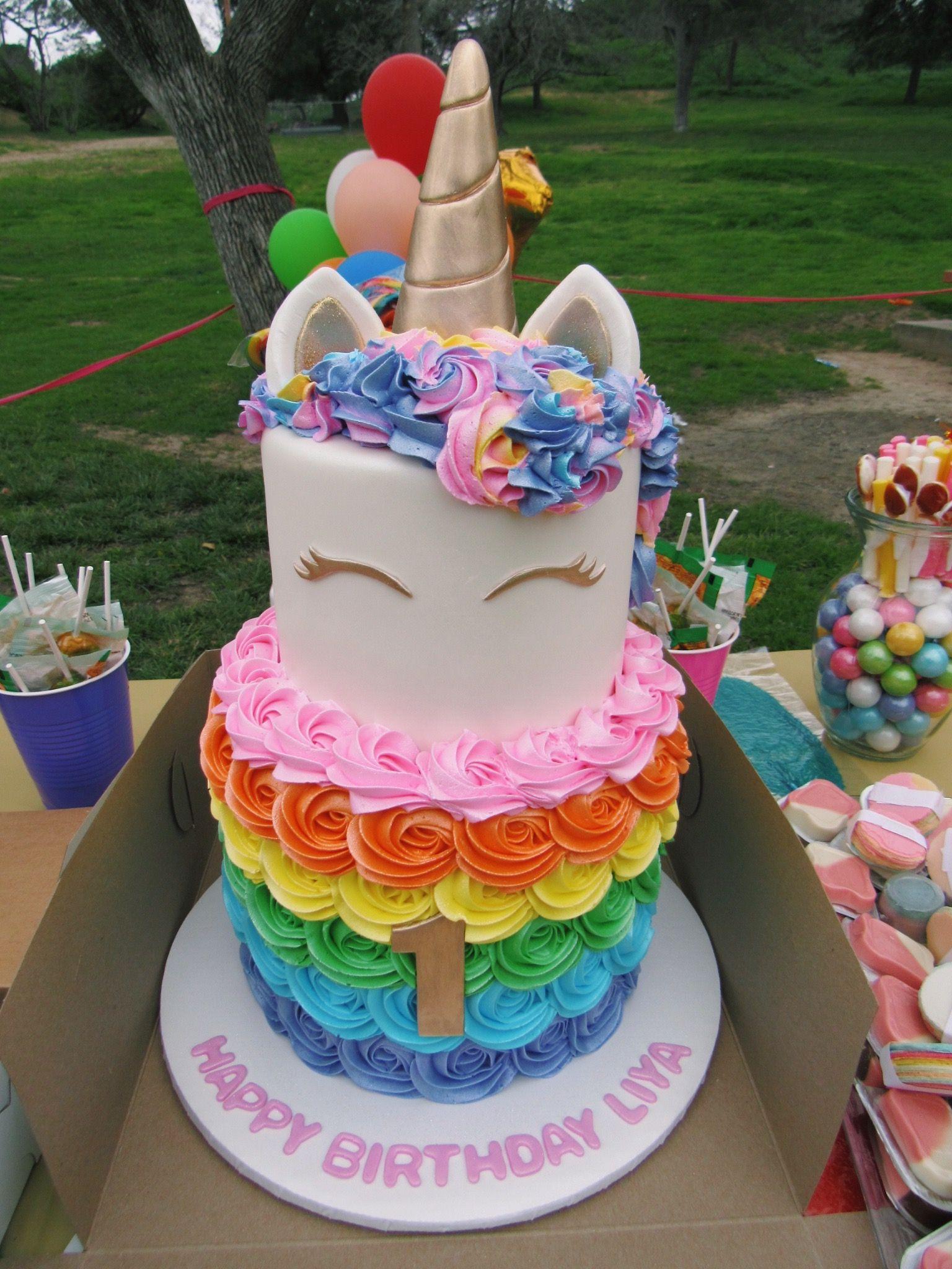 Unicorn rainbow buttercream tiered cake Unicorn Stuff
