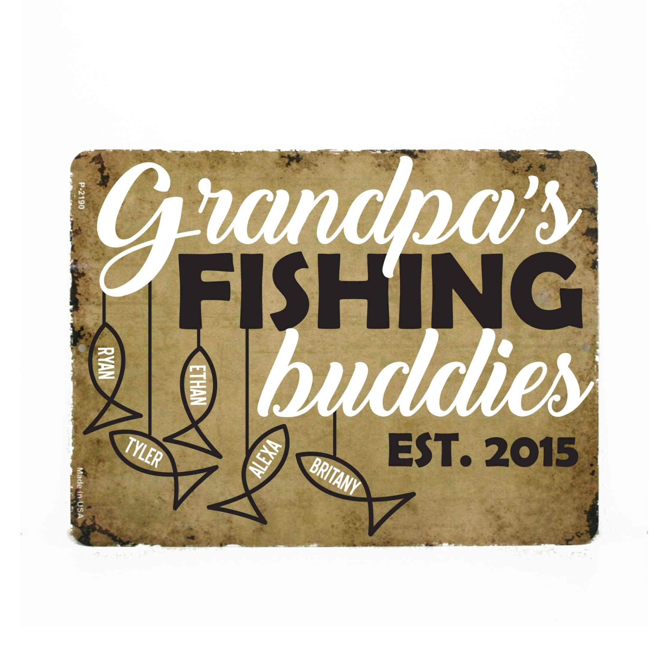 Grandpa Fishing Buddies Hanging Sign, Grandpa Personalized Birthday Gift, Grandchildren Names Custom Sign, New Grandpa Gift from Grandkids #grandpagifts