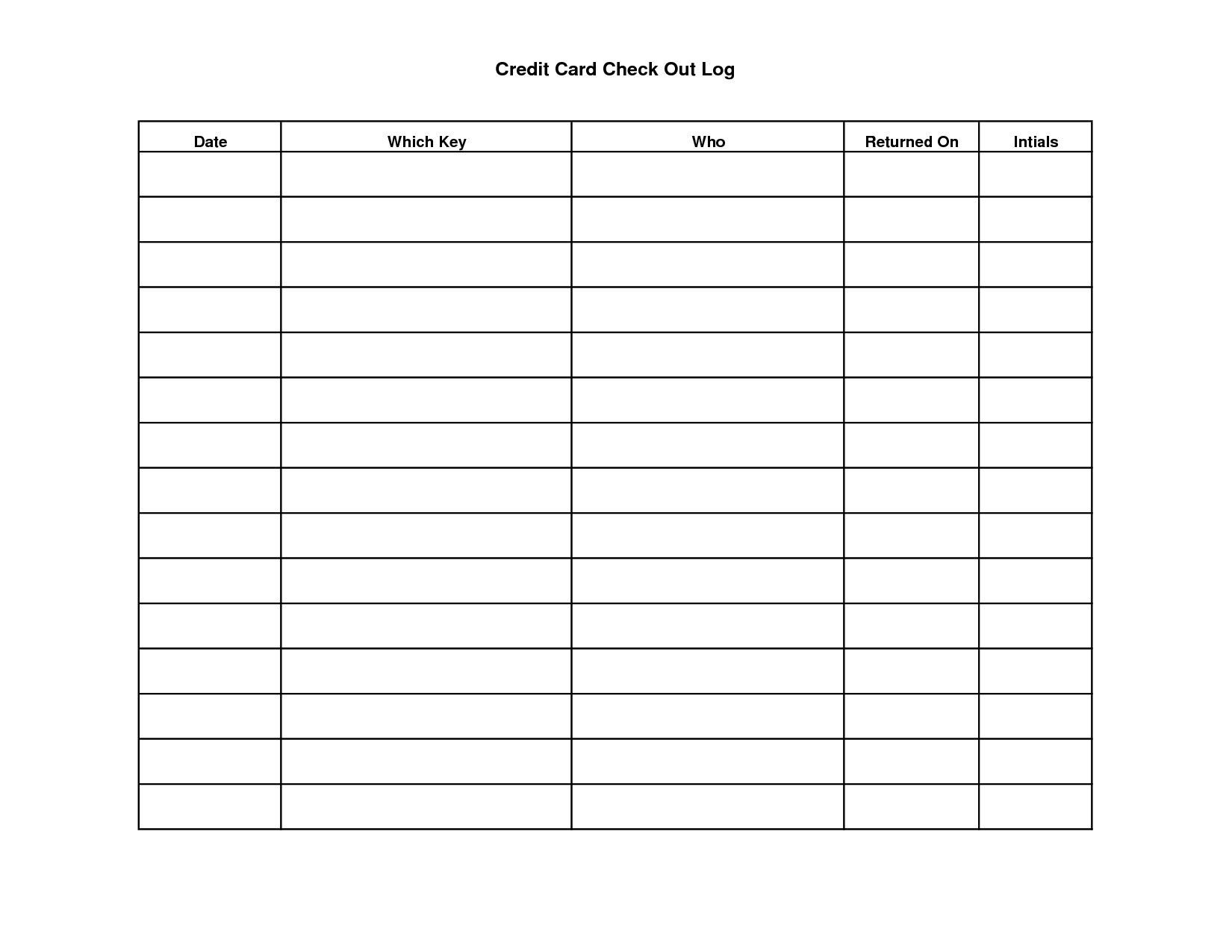 Credit Card Chart Worksheets