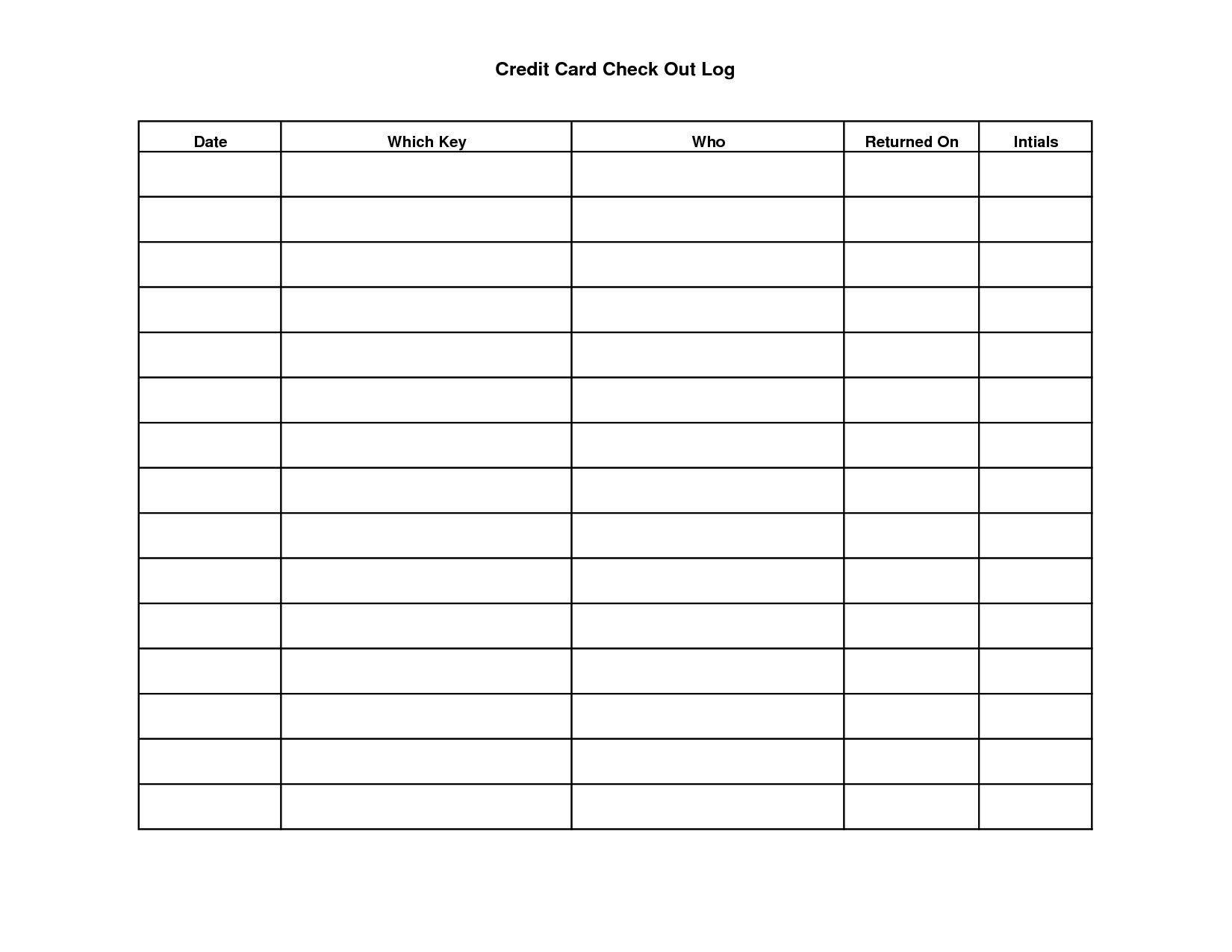 Credit Card Chart Worksheets