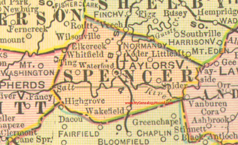 Spencer County, Kentucky 1905 Map Taylorsville, KY, Elk Creek ... on va map, indiana map, tn map, new york map, n. ca map, pa map, nc map, kentucky map, tenn map, nm map, ohio map, state map, oh map, ne map, usa map, mo map, ri map, ae map, wv map, sc map,