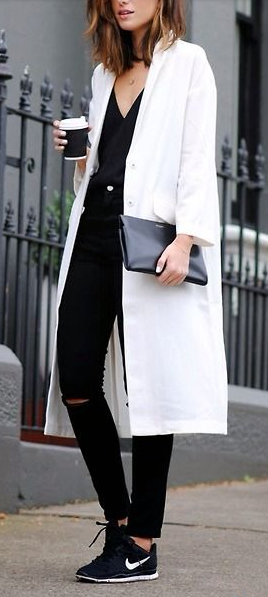 Sporty chic in black and white and some Celine, of course. #nike #starbucks #fashion