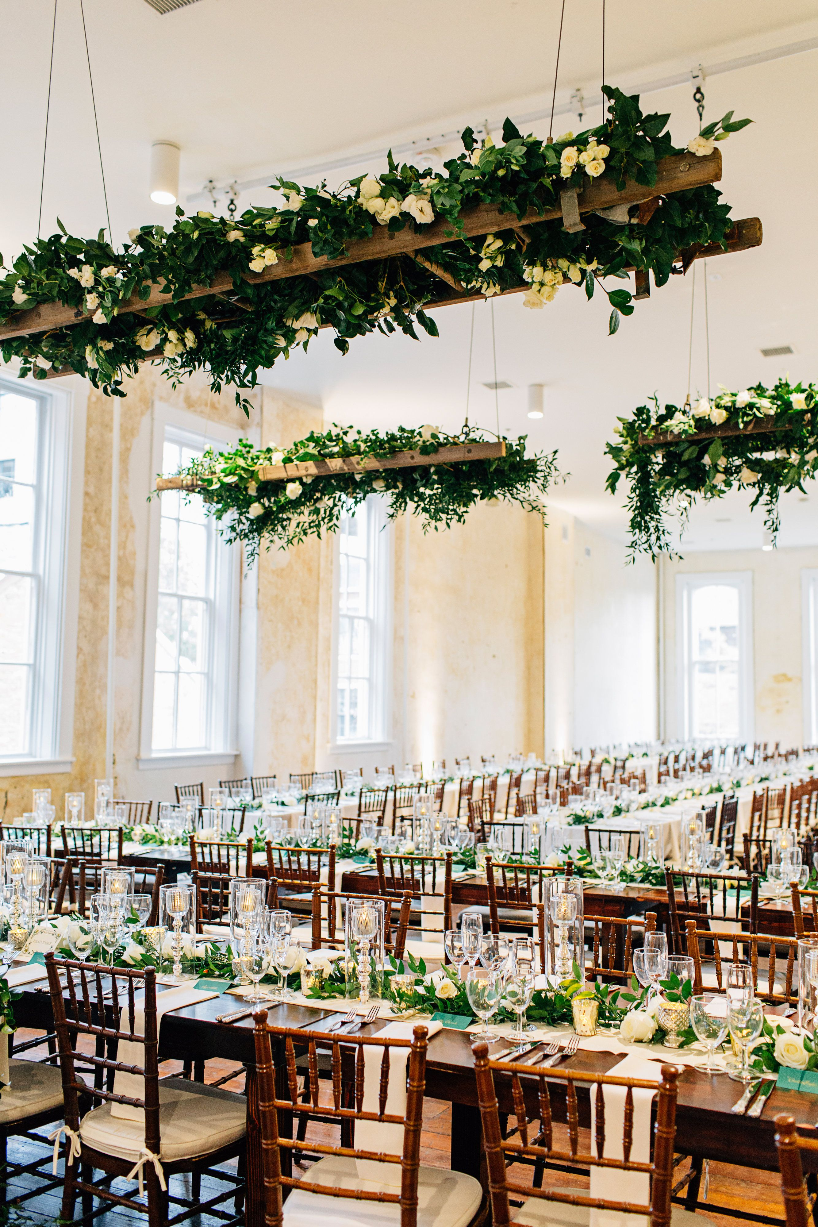 Suspended Ladder With Greenery Wedding Ceiling