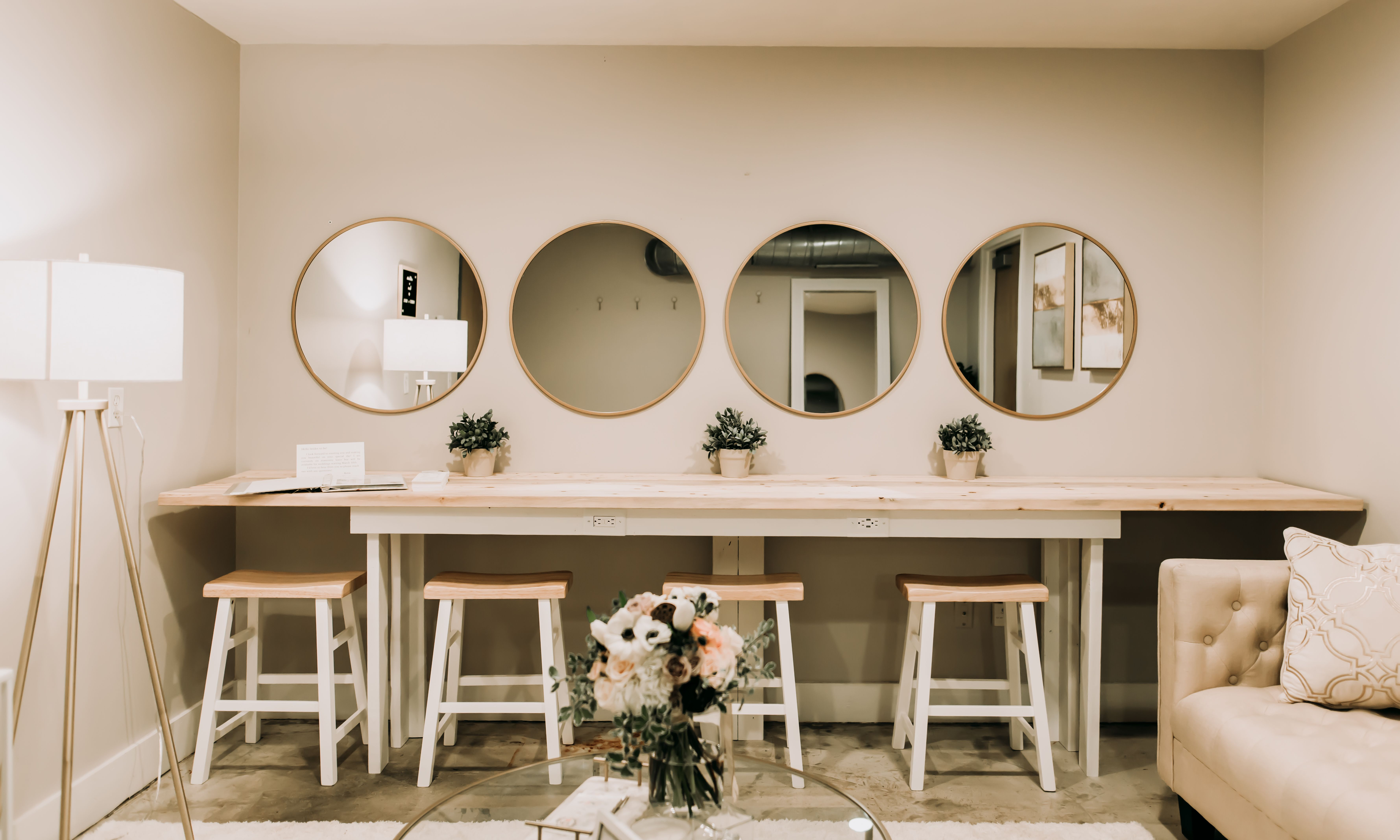 Bright And Modern Bridal Suite For Getting Ready With The Gals At Forest Hall At Chatham Mills Foresth Bridal Suite Decor Barn Wedding Venue Nc Wedding Venue Modern luxury bridal room