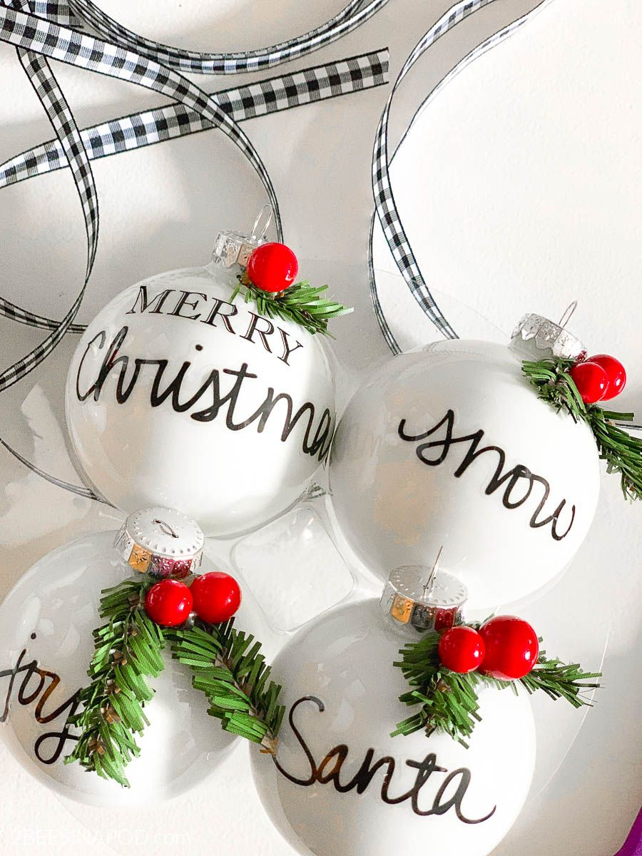Easy Diy Personalized Christmas Ornaments Thrifty Style Team 2 Bees In A Pod Diy Christmas Ornaments Easy Easy Christmas Diy Christmas Ornaments