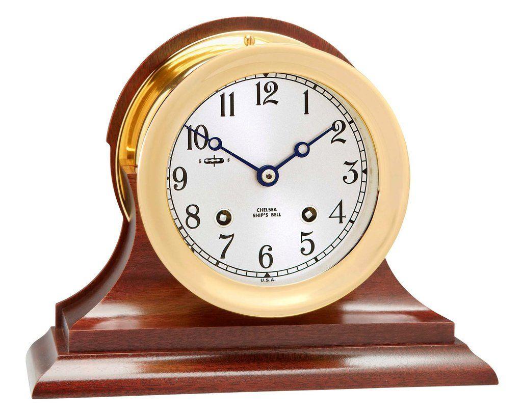 Chelsea Ship S Bell Clock 4 5 Brass On Mahogany Base On Sale Now Clock Chelsea Clock Ships Clock