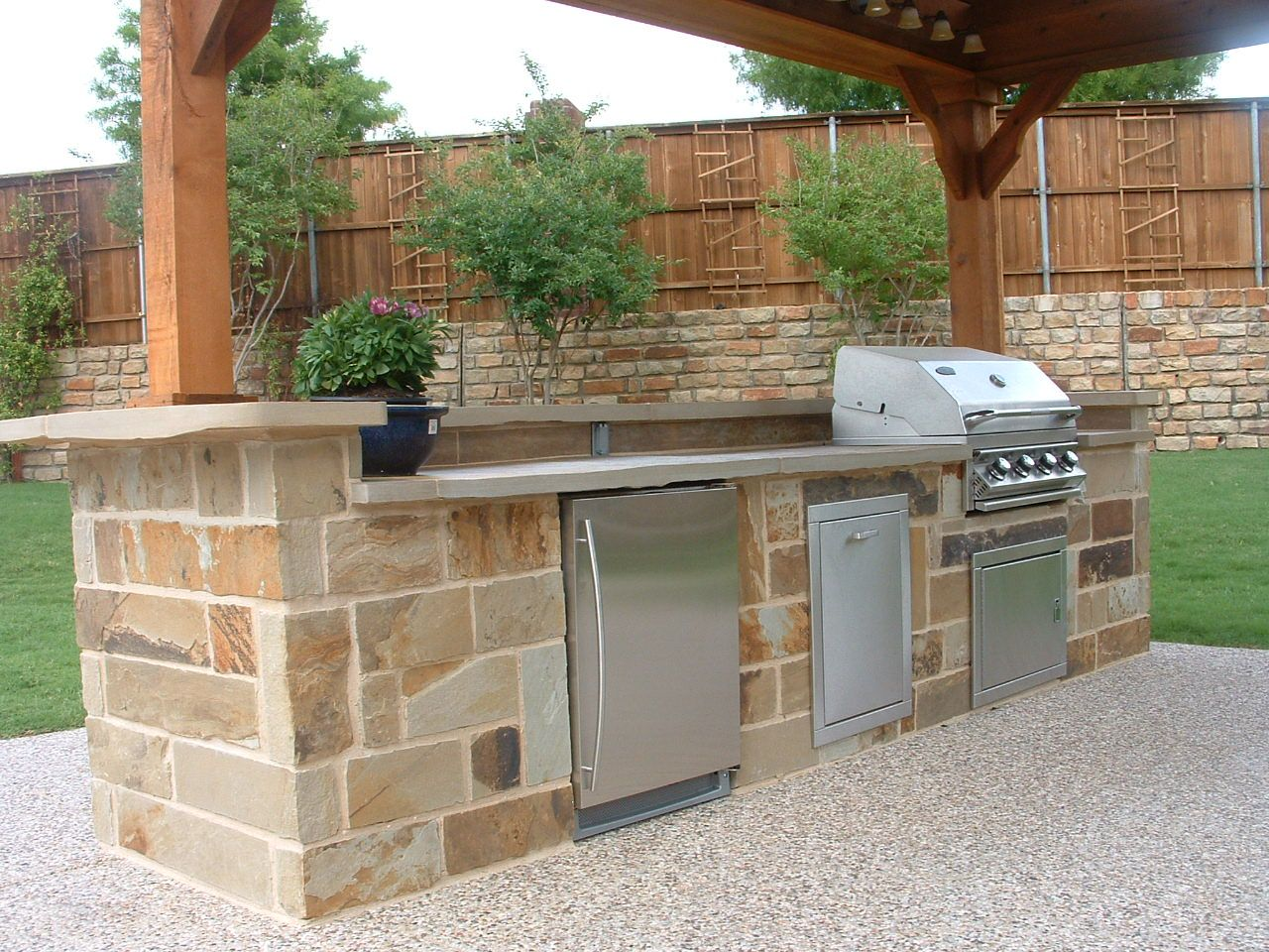 Outdoor Kitchen Countertop Flagstone Outdoor Kitchen With Poured In Place Polished Concrete