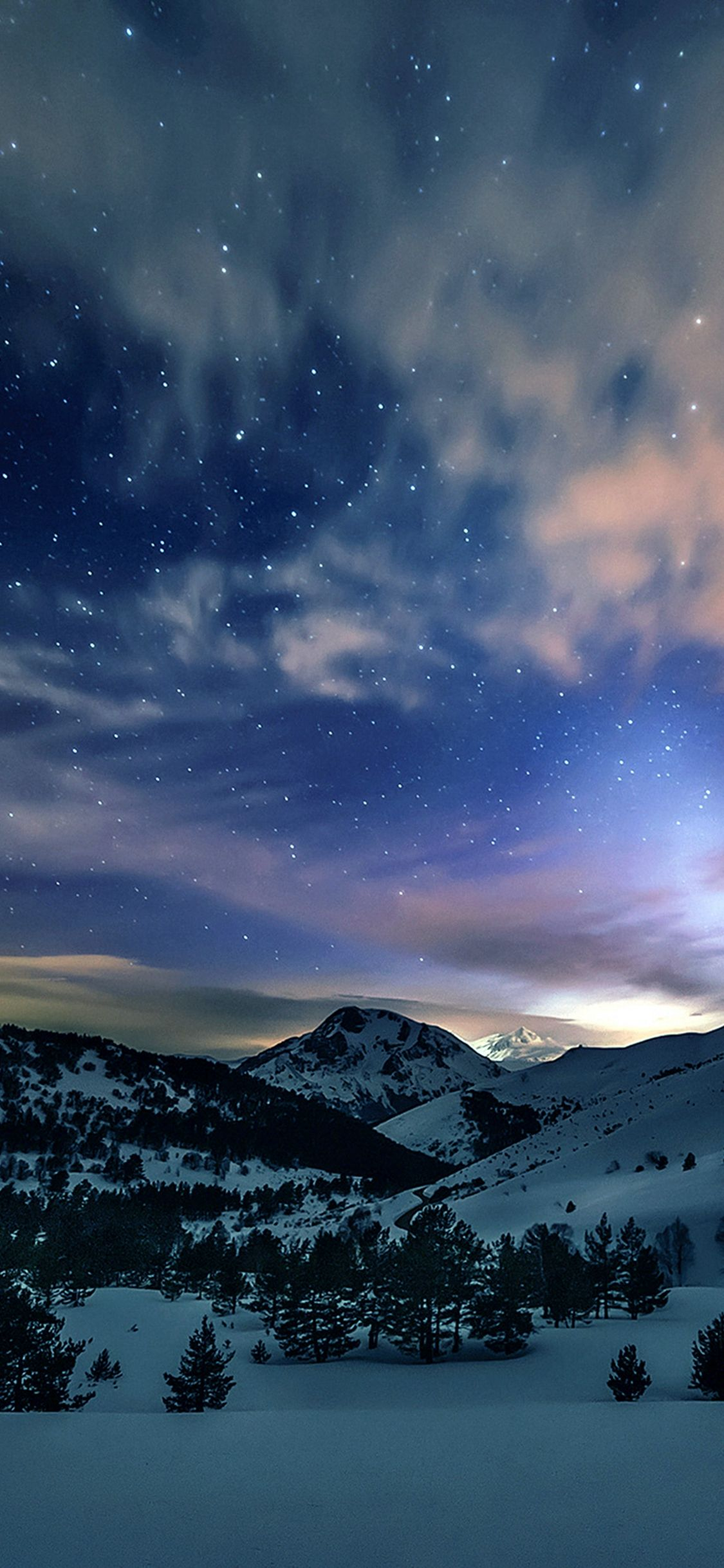 Aurora Star Sky Snow Mountain Winter Nature Iphone X