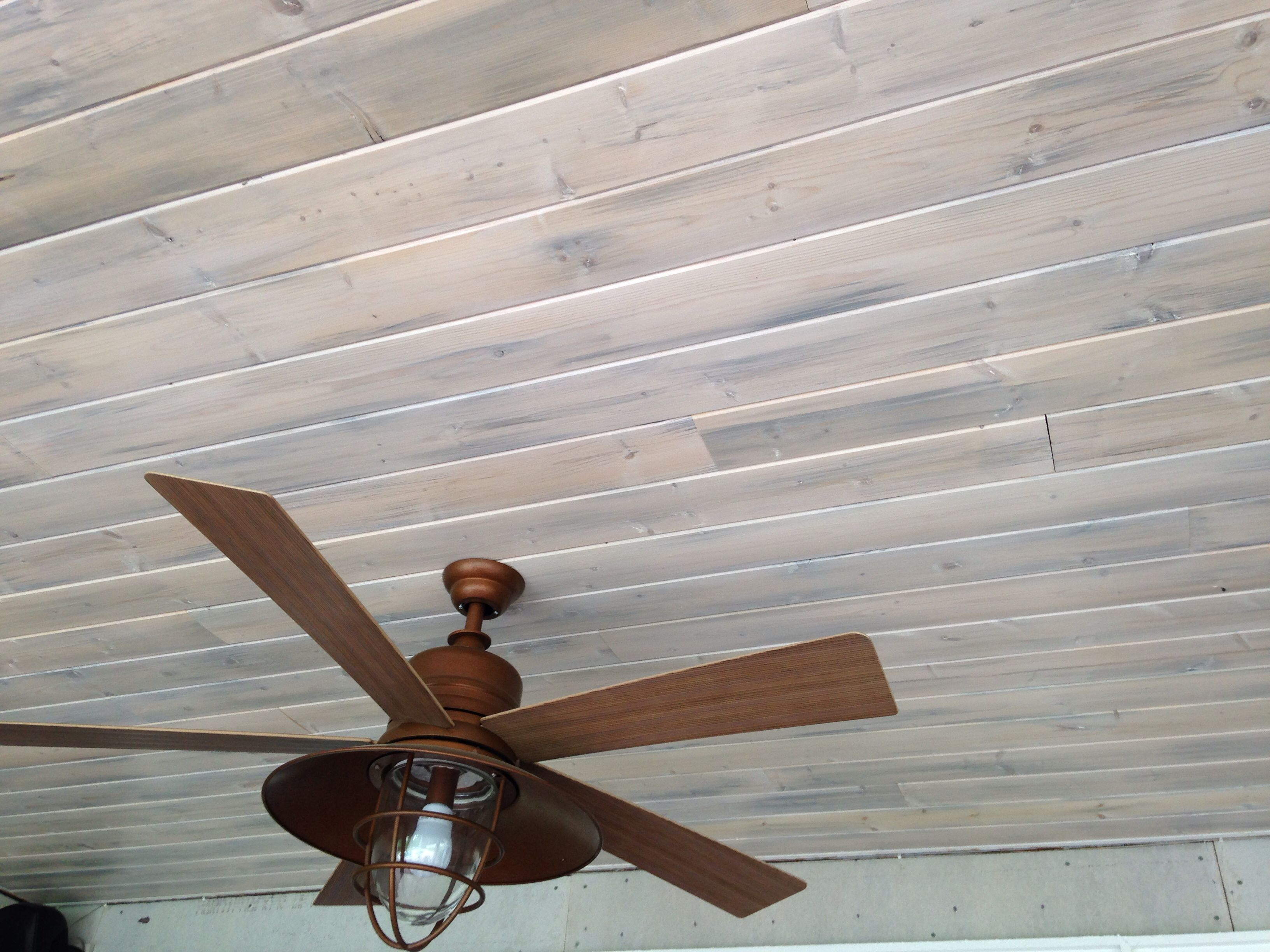 White Washed Wood Ceiling Pine Tongue And Groove Porch Ceiling In A Dusty Gray Stain With